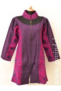 Vlněný kabát - fialový