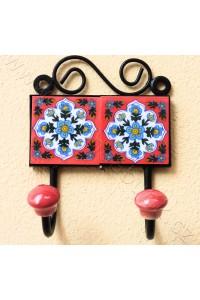 Vintage dvouvěšák, červený - 10x14 cm