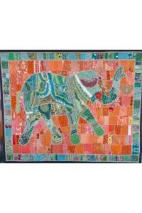 Patchwork – dekorace na stěnu – slon – 2,1 x 2,6 m