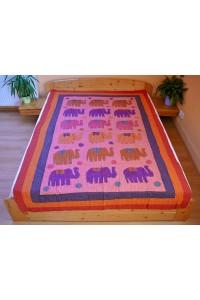 Patchwork jednolůžko – sloni, 155x 220 cm