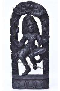 Nádherný, dřevěný reliéf Lakšmí - Bohyně Štěstí