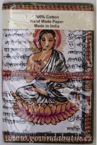 Bílý notes s motivem Buddhy, 8,5 x 12 cm