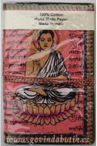 Růžový notes s motivem Buddhy, 8,5 x 12 cm