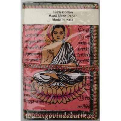 Růžový notes s motivem Buddhy
