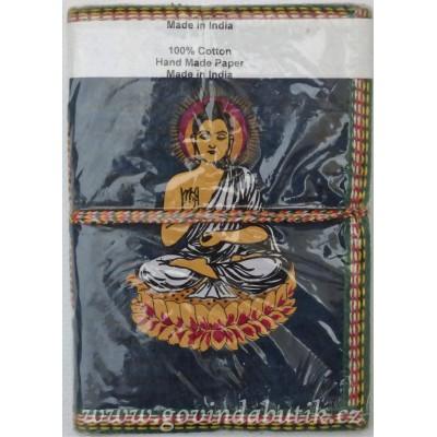Tmavě modrý notes s motivem Buddhy