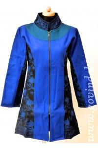 Vlněný kabát - modrý + AKCE bunda zdarma