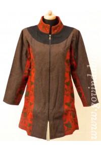 Vlněný kabát - hnědý + AKCE bunda zdarma