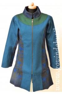 Vlněný kabát - petrolejový + AKCE bunda zdarma