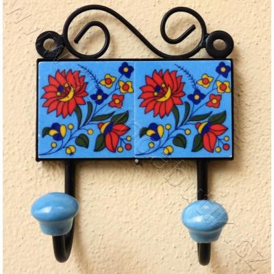 Vintage dvouvěšák, modrý - 15x18 cm
