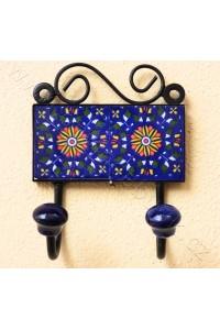 Vintage dvouvěšák, tm. modrý - 10x14 cm