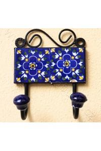 Vintage dvouvěšák, modrý - 10x14 cm