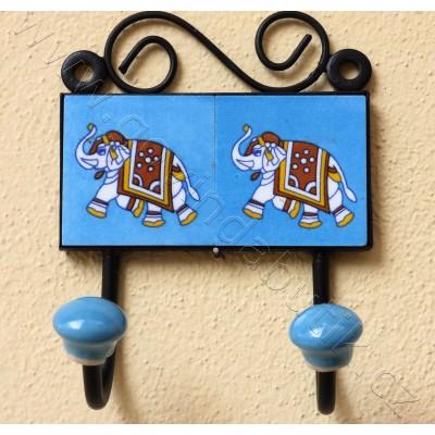 Vintage dvouvěšák, světle modrý - 10x14 cm