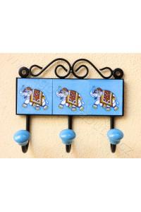 Vintage trojvěšák, světle modrý - 12,5x14,5 cm