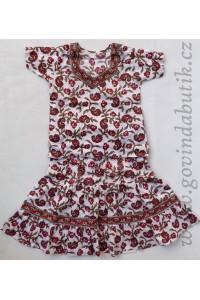 Sukně + kurta, bílá s červeným potiskem
