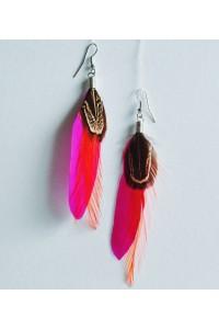 Peříčkové náušnice - růžové, magenta