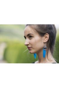 Peříčkové náušnice - modré azuro