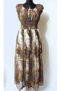 Maxi šaty s pavím vzorem