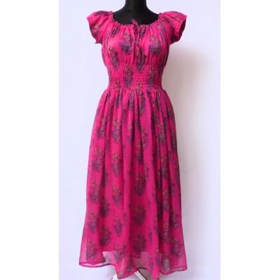 Maxi šaty - cyklámenové