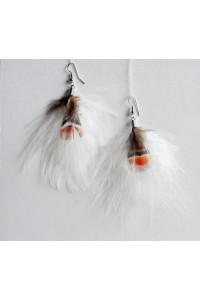 Peříčkové náušnice - bílé, střapaté