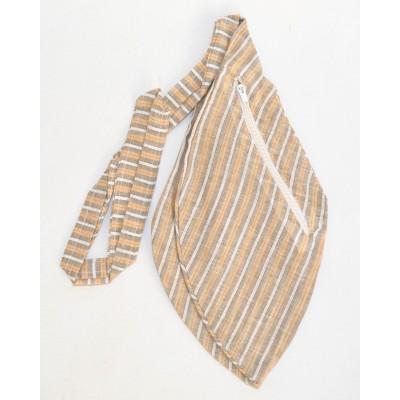 Pánský japa pytlík s kapsičkou, světle hnědý s proužky