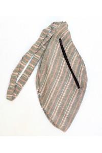 Pánský japa pytlík s kapsičkou, šedý s proužky