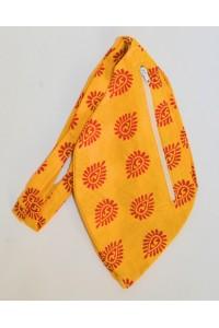 Dámský japa pytlík s kapsičkou na zip, jasně žlutý s potiskem