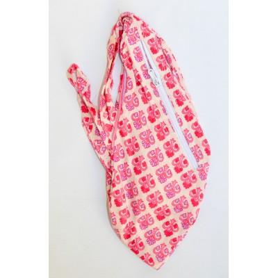 Dámský japa pytlík s kapsičkou,růžový s potiskem