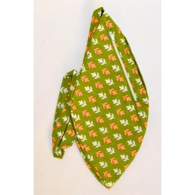 Dámský japa pytlík s kapsičkou na zip, zelený s potiskem