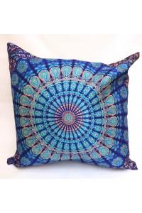 Povlak na polštář, 60x60 cm, tmavě modrá mandala