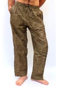 Pohodlné pánské kalhoty - žíhané khaki, vel.M,XL