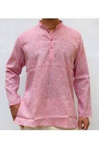 Pánská bavlněná košile, červená žíhaná, vel. L,XL