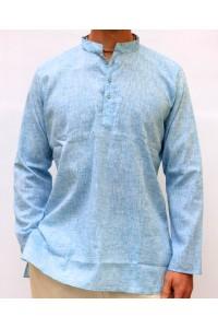 Pánská bavlněná košile, světle modrá žíhaná, vel. XL