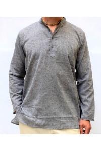 Pánská bavlněná košile, šedá žíhaná, vel.M,L