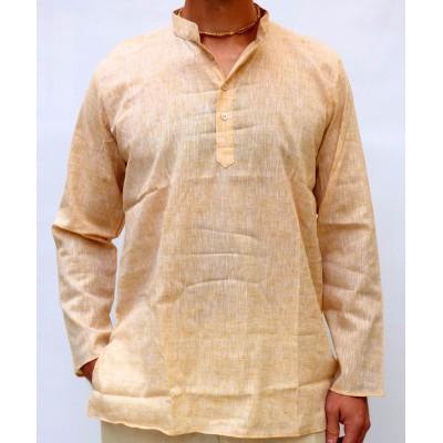 Pánská bavlněná košile, světle béžová žíhaná, vel.M,L,XL
