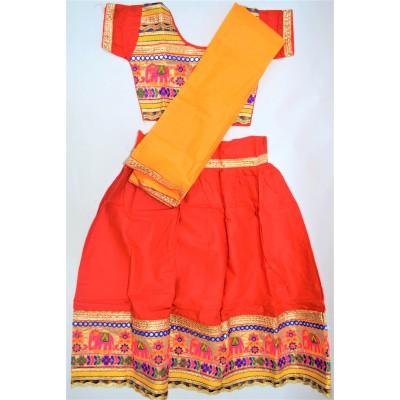 Veselé, holčičí polosárí Gujarat, červené vel.28