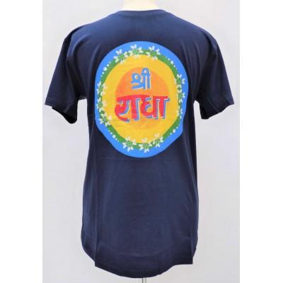 Pánské triko tmavě modré s potiskem Šrí Rádhé, vel.M