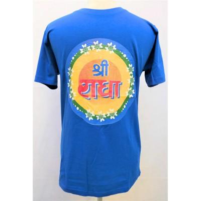 Pánské triko modré s potiskem Šrí Rádhé, vel.M