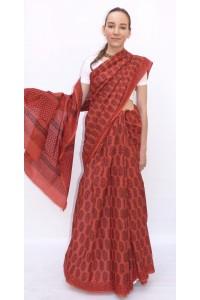 Bavlněné sárí červené zemité barvy - Jaipur
