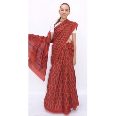 Bavlněné sárí malinové barvy - Jaipur