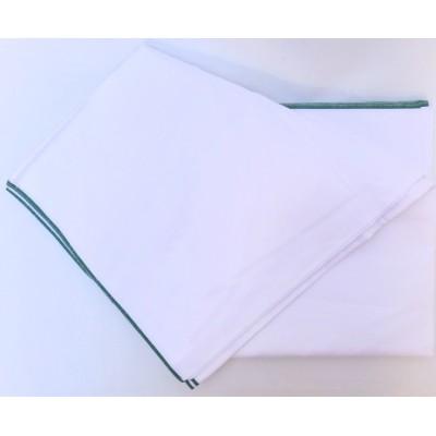 Dhotí z pevné bavlny - tenký zelený okraj