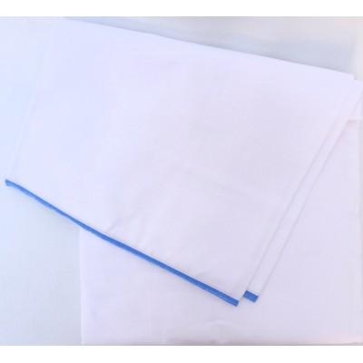 Dhotí z pevné bavlny - tenký světle modrý okraj