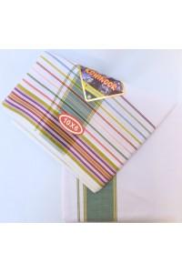 Dhotí s čadarem, set - zelené proužky, jihoindická bavlna