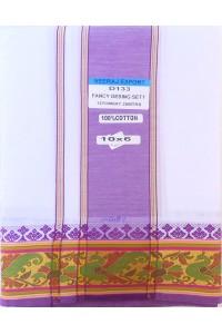 Set dhotí s čadarem - fialový okraj se zelenými pávy