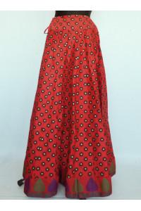 Bohatá panelová, kolová sukně s potiskem červená vel. S, M, L, XL
