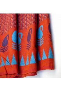 Bavlna s potiskem - oranžovo-červená