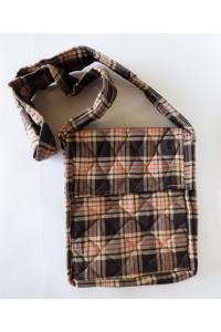 Parikramka - taška pro poutníky , hnědá káro - 29 x 25 cm