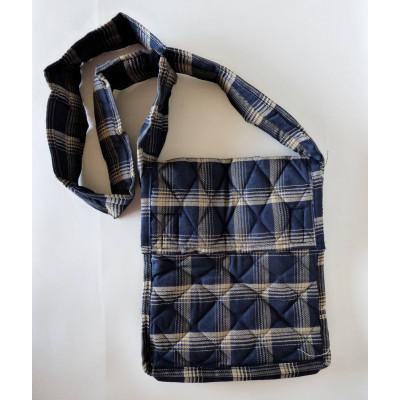 Parikramka - taška pro poutníky, modrá, károvaná - 29 x 25 cm