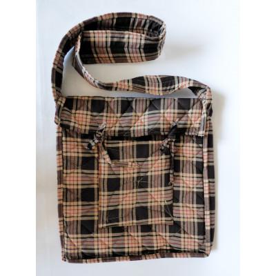 Parikramka - taška pro poutníky, hnědo béžové káro, 38 x 35 cm