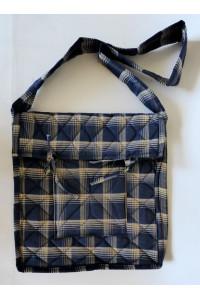 Parikramka - taška pro poutníky, modro béžové káro, 38 x 35 cm