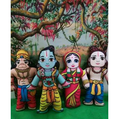 Textilní panenky - Síta, Ráma, Lakšman, Hanumán 19 cm